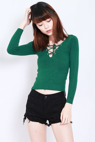 SOFT SNUG KNIT TOP IN FOREST