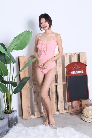 LACED UP MONOKINI (BABY PINK)