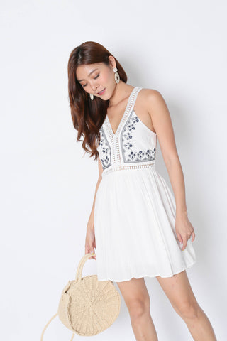 DAHLIA EMBROIDERY DRESS IN WHITE