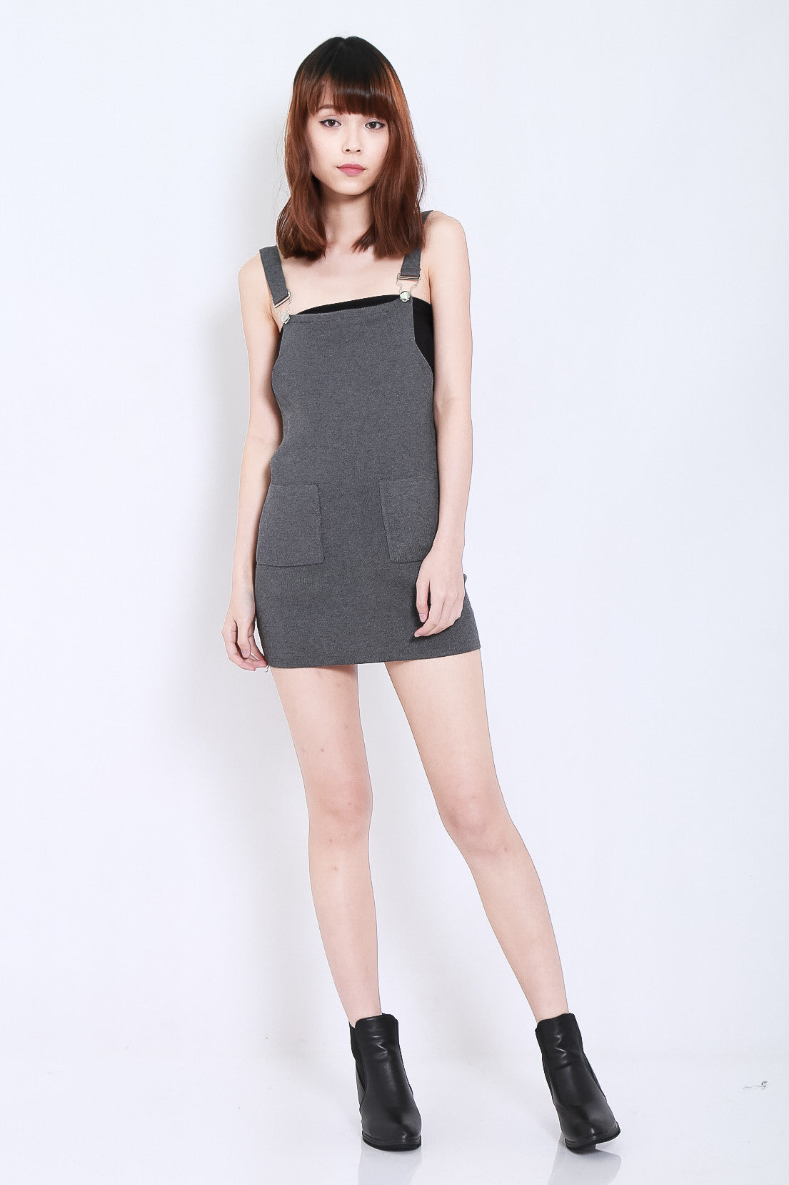 (RESTOCKED) CLASSIC KNIT DUNGAREE DRESS IN GREY - TOPAZETTE