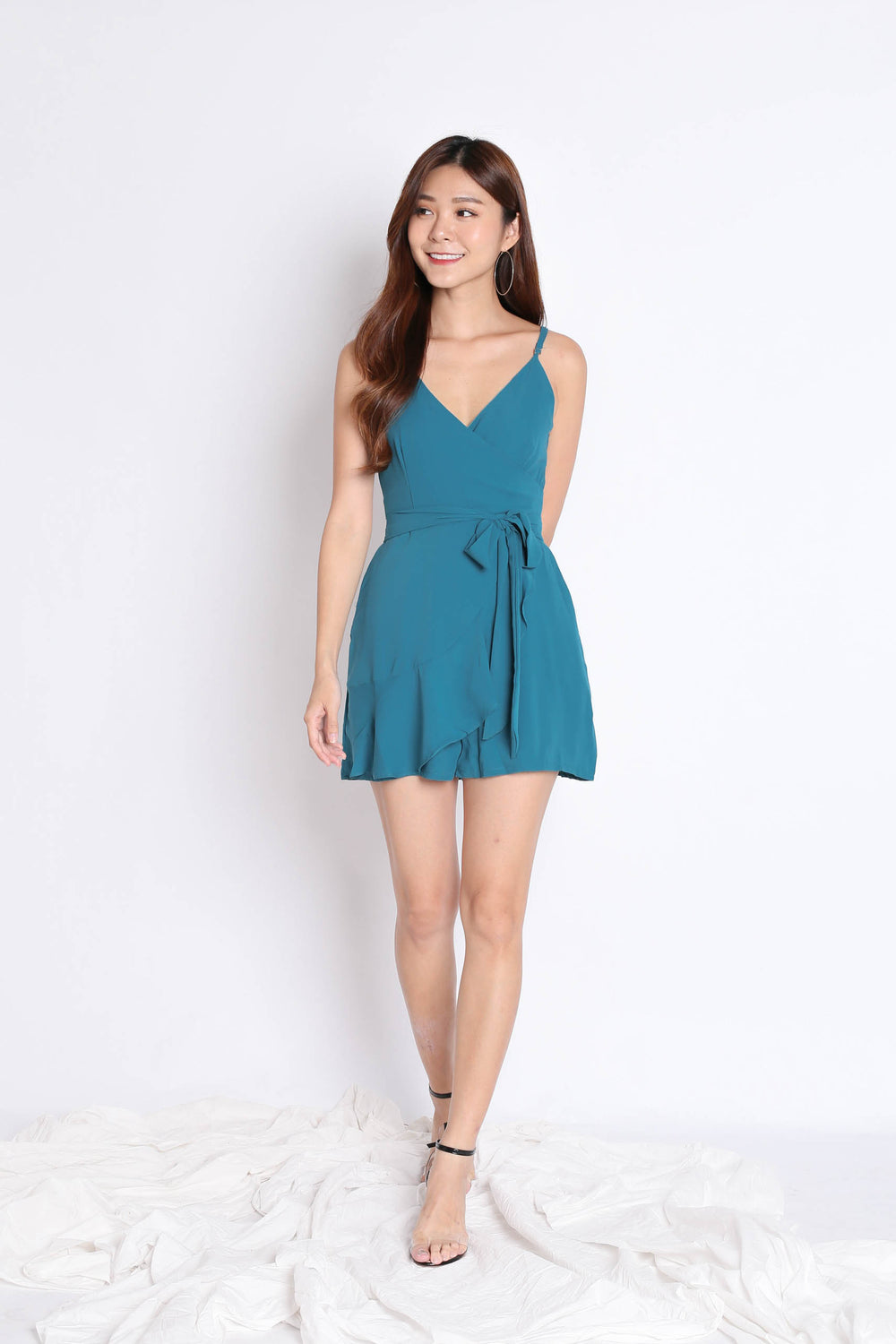 *TPZ* (PREMIUM) MYLA ROMPER DRESS IN TEAL