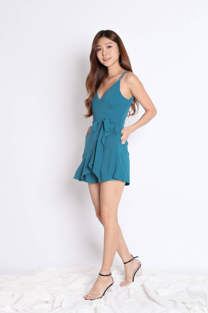 *TPZ* (PREMIUM) MYLA ROMPER DRESS IN TEAL - TOPAZETTE