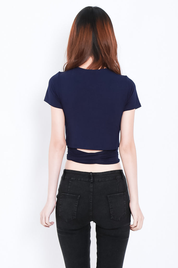 WRAP ME UP TOP IN NAVY - TOPAZETTE