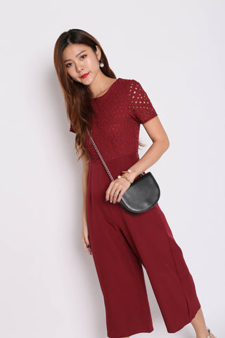 *TPZ* (PREMIUM) JOAII EYELET CULOTTES JUMPSUIT IN BURGUNDY