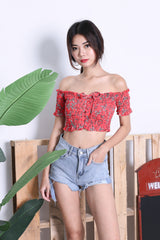 EMBER FLORAL SMOCKED TOP IN RED