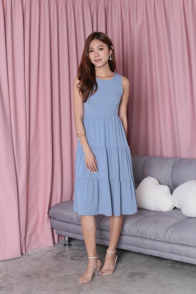 *TPZ* (PREMIUM) ARIANA TIER DRESS IN BLUE - TOPAZETTE