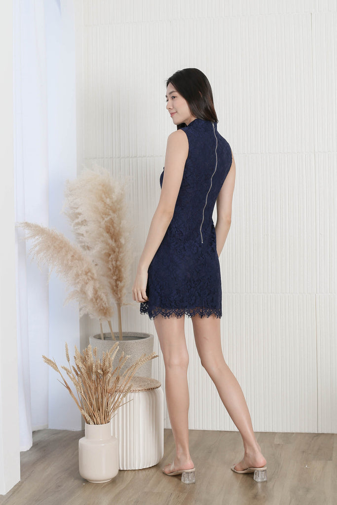 *TPZ* (PREMIUM) ANQI LACE CHEONG SAM IN NAVY