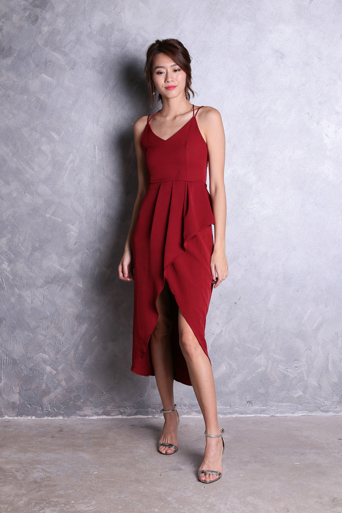 *TOPAZ* (PREMIUM) EYDIS DRESS IN WINE - TOPAZETTE