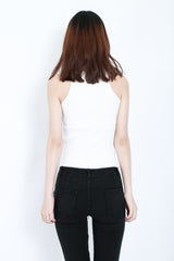 RIBBED REVERSIBLE LACE TOP IN WHITE
