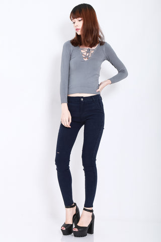 (RESTOCKED) STAY CLOSE SLIT JEGGINGS IN NAVY