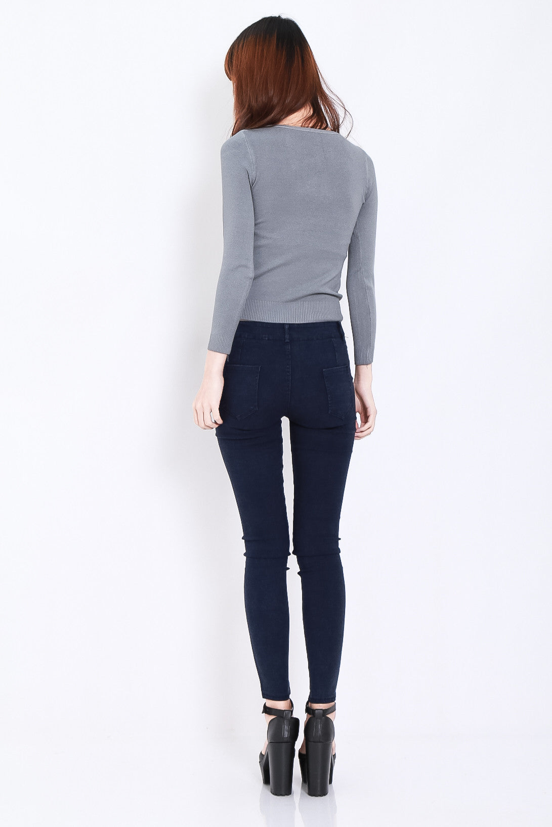 (RESTOCKED) STAY CLOSE SLIT JEGGINGS IN NAVY - TOPAZETTE