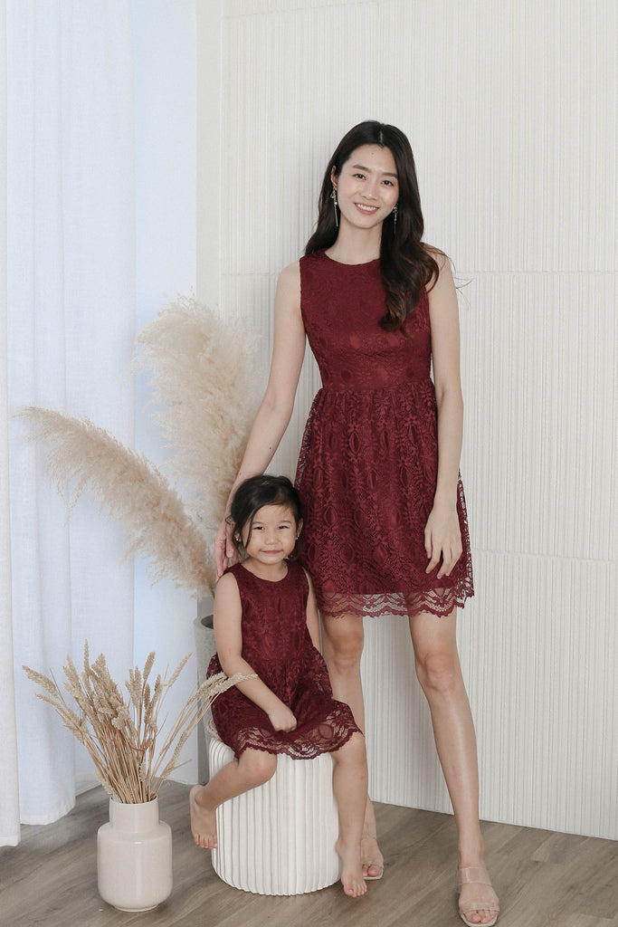 *LITTLE TOPAZETTE* WENDI LACE SKATER DRESS IN BURGUNDY
