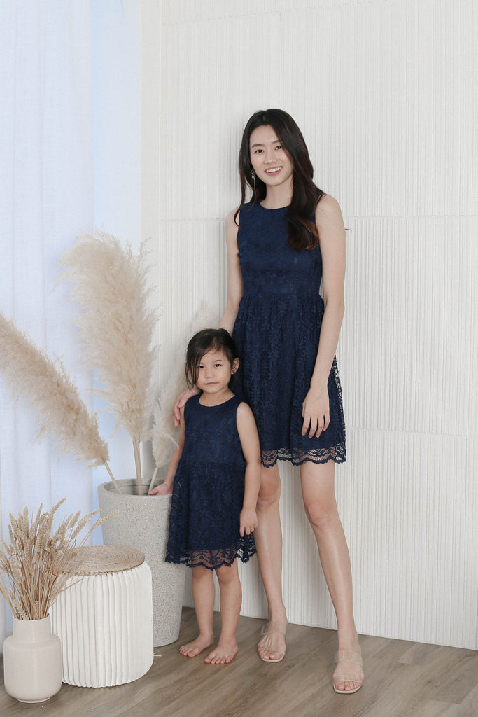 *LITTLE TOPAZETTE* WENDI LACE SKATER DRESS IN NAVY