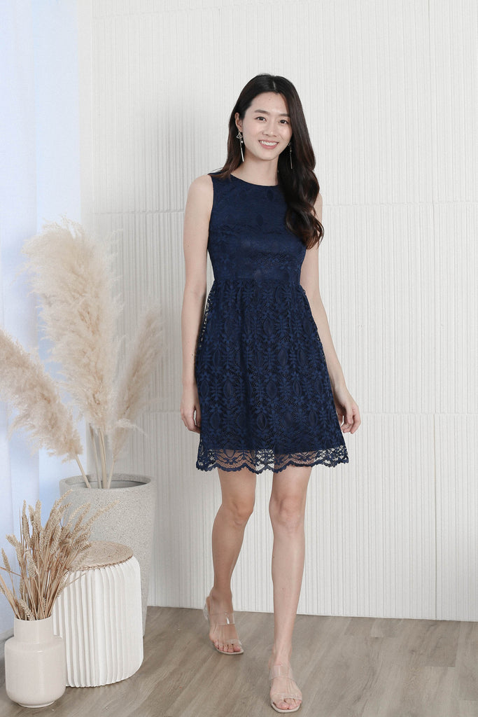 *TPZ* WENDI LACE SKATER DRESS IN NAVY