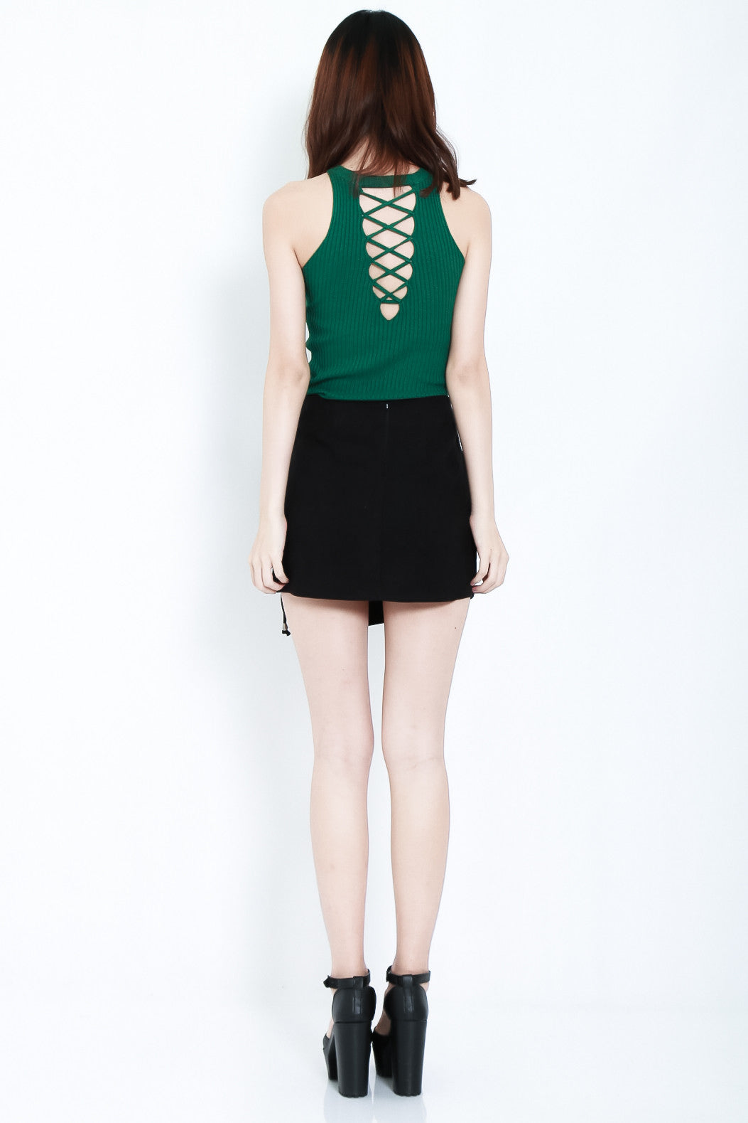 RIBBED REVERSIBLE LACE TOP IN FOREST