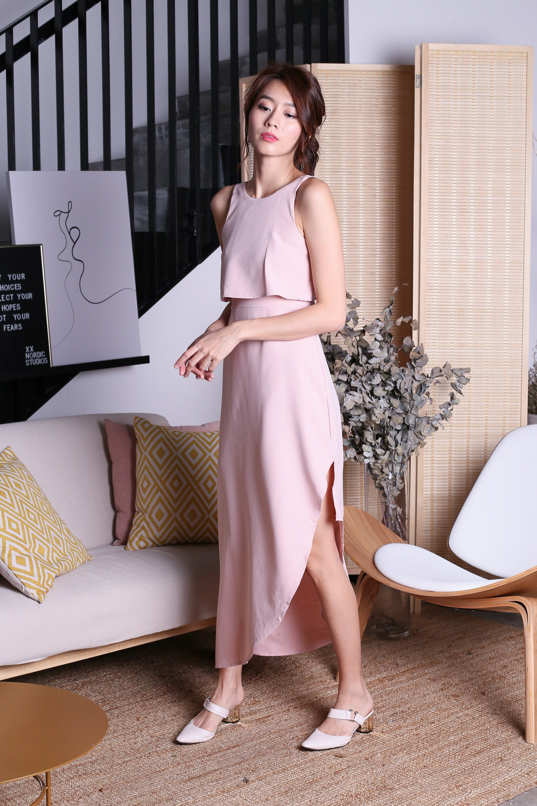 TOPAZ *PREMIUM* VELLE ASYMMETRICAL MAXI IN DUSTY PINK