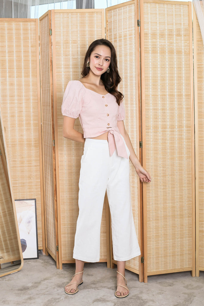 *TPZ* (PREMIUM) FIONA SWEETHEART LINEN TOP IN PINK
