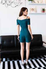 *RESTOCKED* (TOPAZ) *PREMIUM* BRIGHTON LACE COLD SHOULDER ROMPER IN TEAL