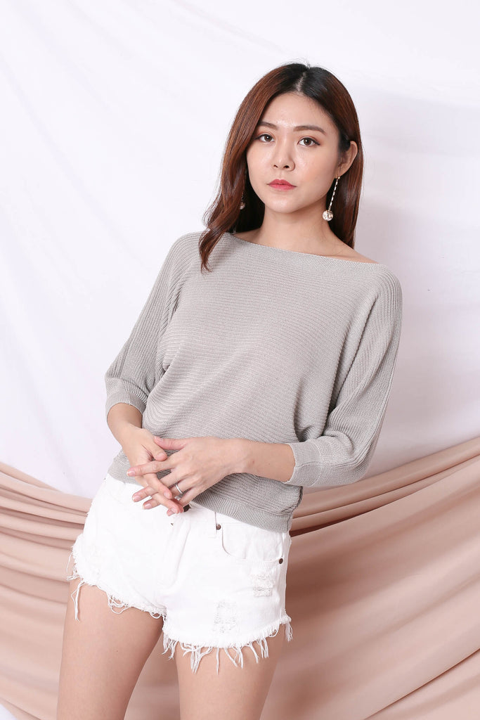 YONA KNIT TOP IN GREY