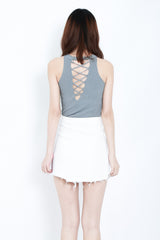 RIBBED REVERSIBLE LACE TOP IN GREY