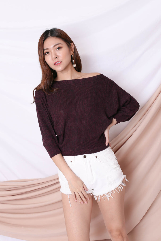 YONA KNIT TOP IN PRUNE