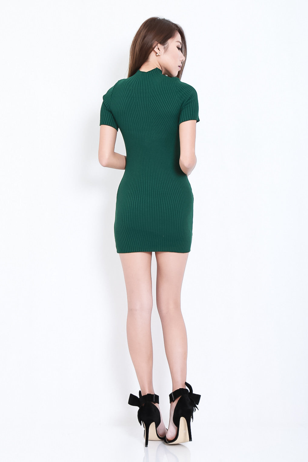TAKE ME HIGHER RIBBED KNIT DRESS IN FOREST