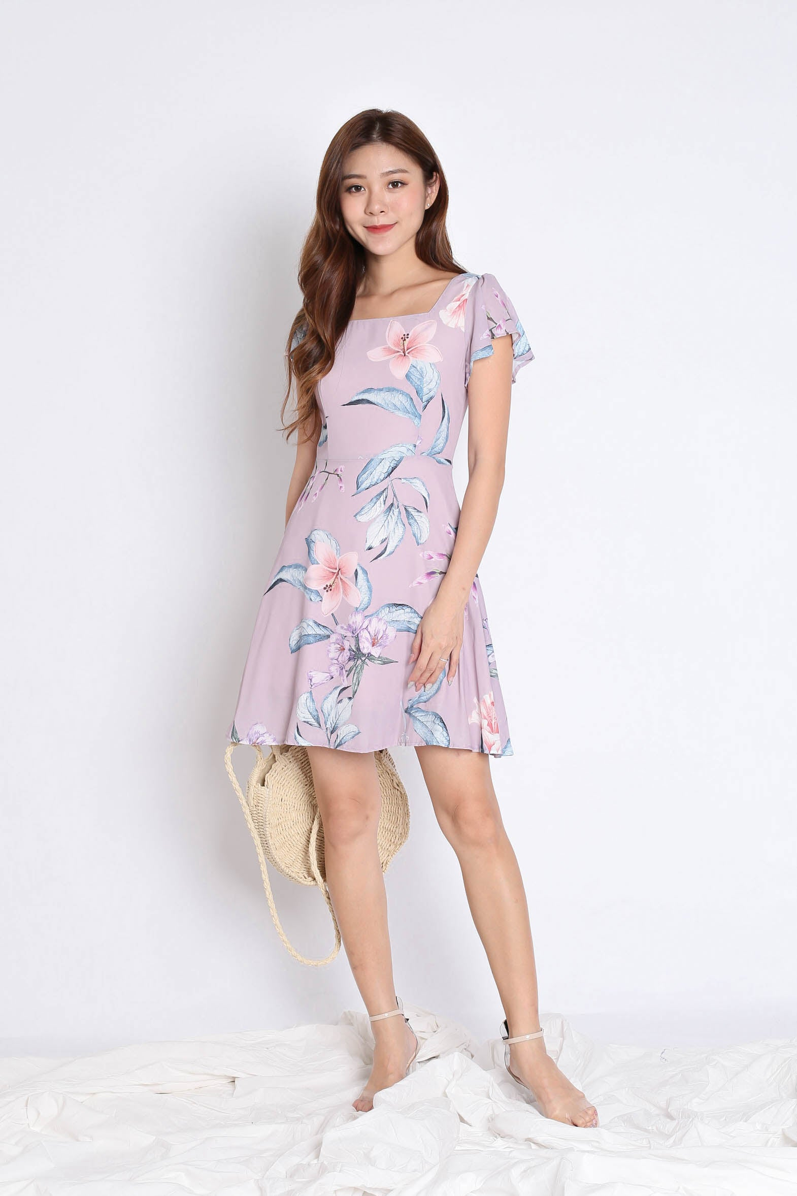 (PREMIUM) KESHIA DRESS IN MAUVE FLORALS