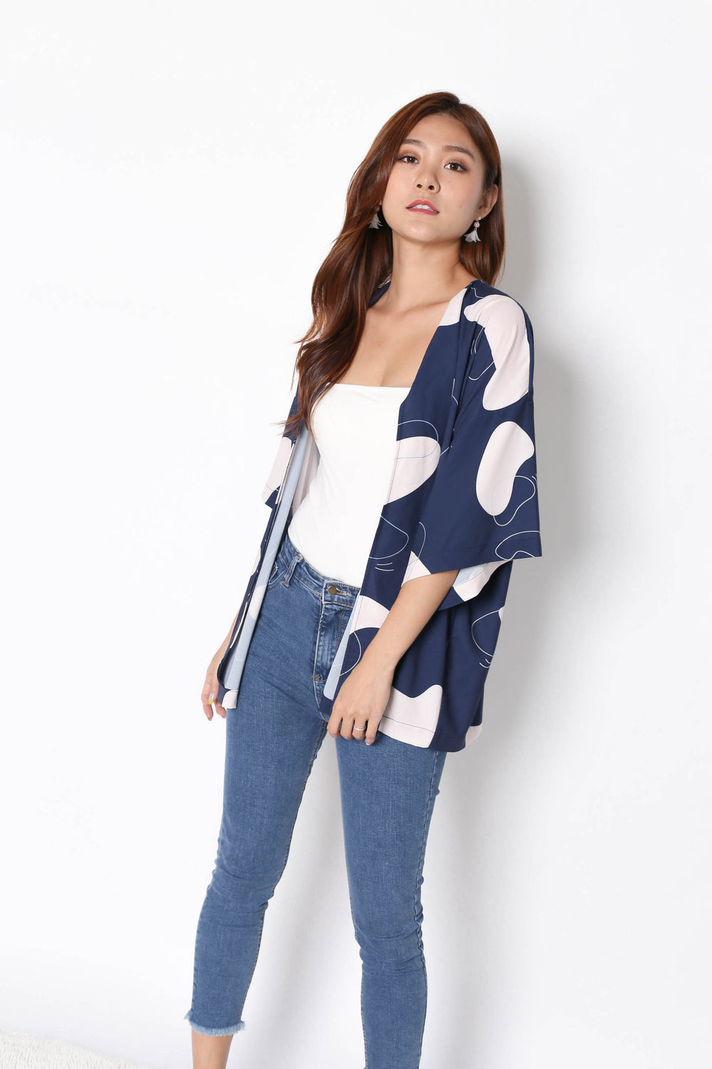 *TPZ* (PREMIUM) FELLE KIMONO ABSTRACT JACKET IN NAVY