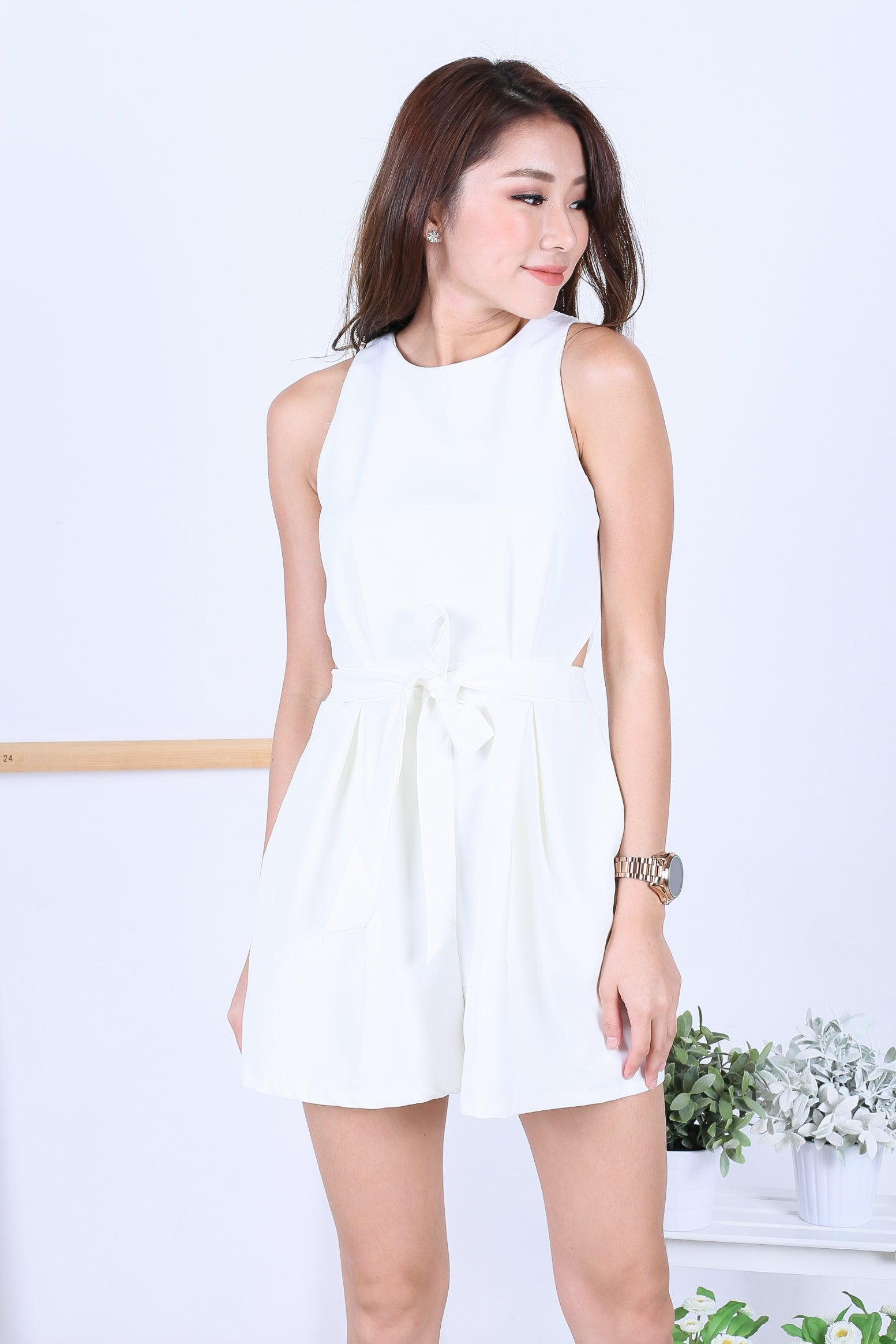 817ab966a58 RESTOCKED  (TOPAZ)  PREMIUM  SHELBY WAIST CUT OUT ROMPER IN WHITE ...