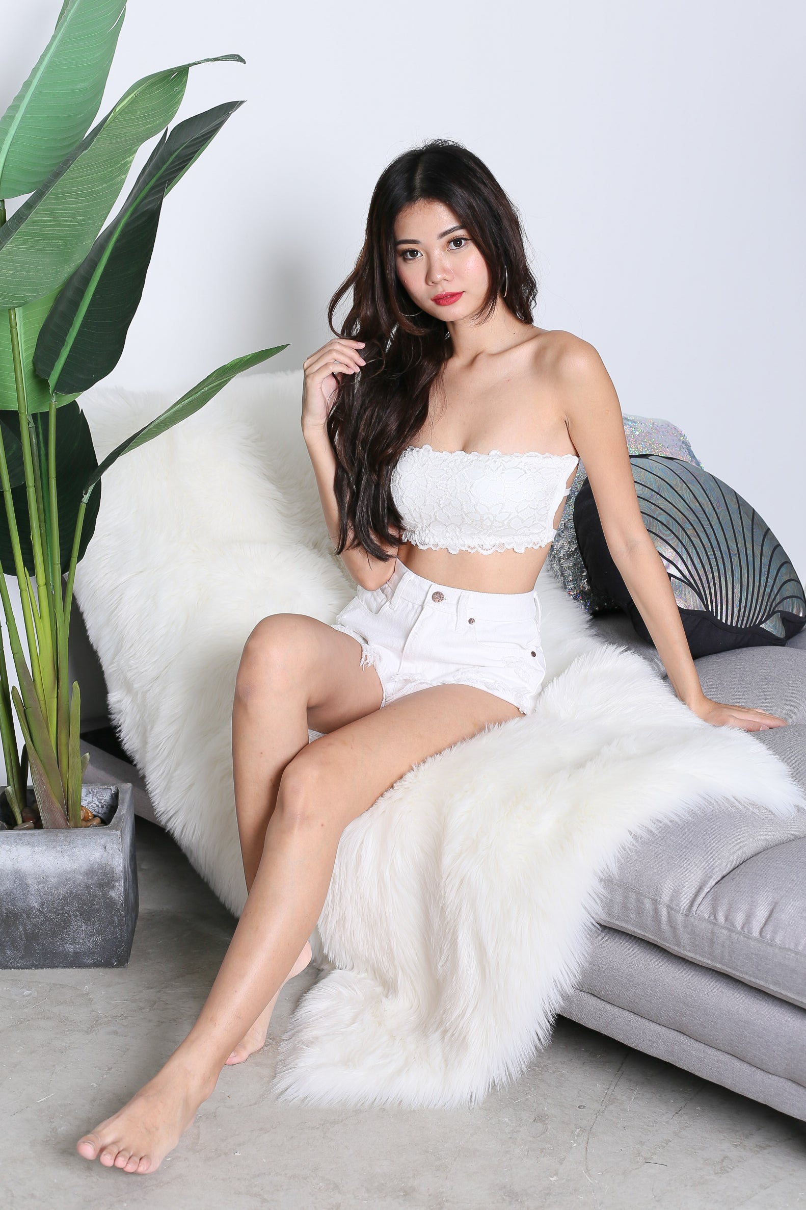 *RESTOCKED* GRECIA LACE TUBE CAGED BRA IN WHITE