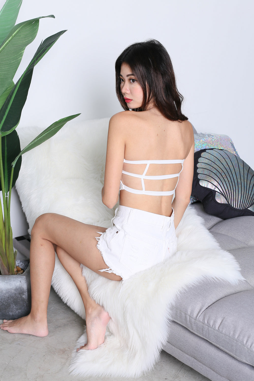 *RESTOCKED* GRECIA LACE TUBE CAGED BRA IN WHITE - TOPAZETTE