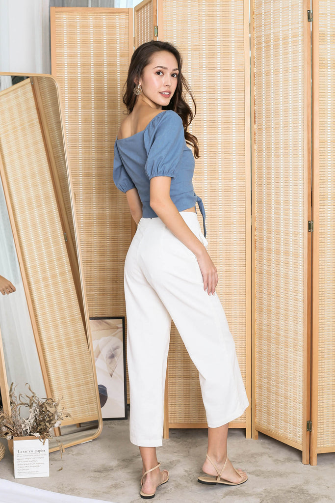 *TPZ* (PREMIUM) FIONA SWEETHEART LINEN TOP IN BLUE