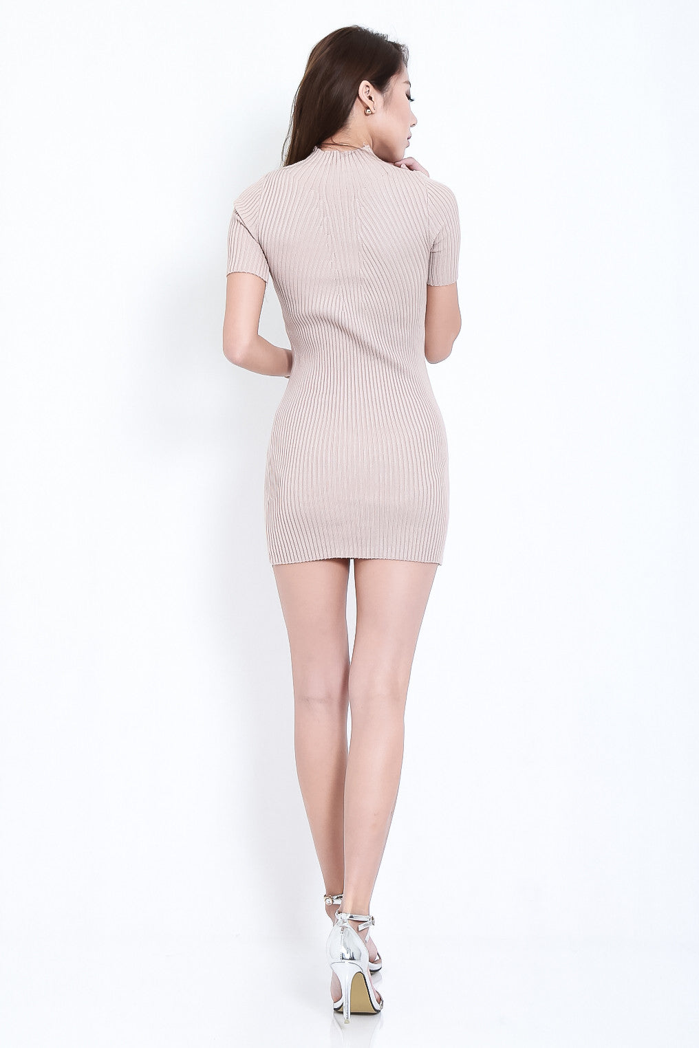 TAKE ME HIGHER RIBBED KNIT DRESS IN TAUPE