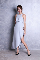 TOPAZ *PREMIUM* VELLE ASYMMETRICAL MAXI IN DUSTY BLUE