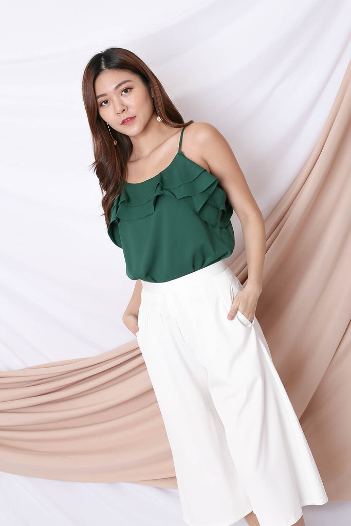 AYLIN RUFFLED 2 WAY TOP IN FOREST