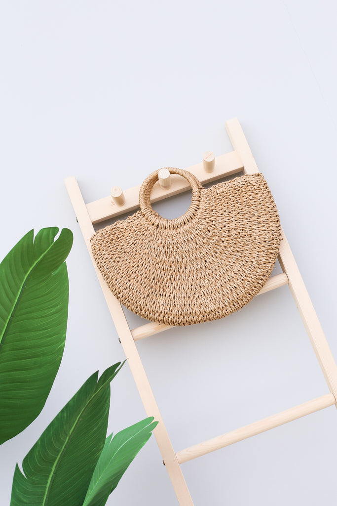 CLASSIC RATTAN WOVEN BAG (MEDIUM) - TOPAZETTE