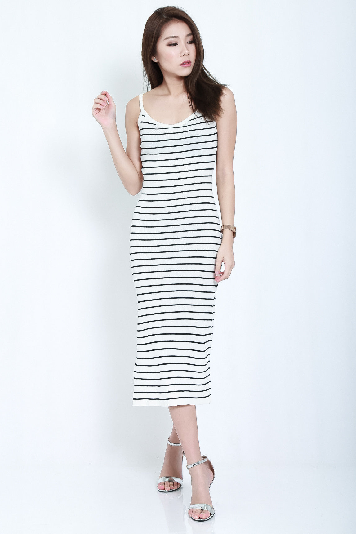 (RESTOCKED) CLASSIC STRIPES KNIT MIDI IN WHITE - TOPAZETTE