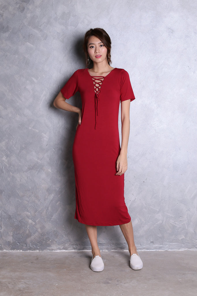 CADWELL REVERSIBLE LACE MIDI DRESS IN WINE - TOPAZETTE