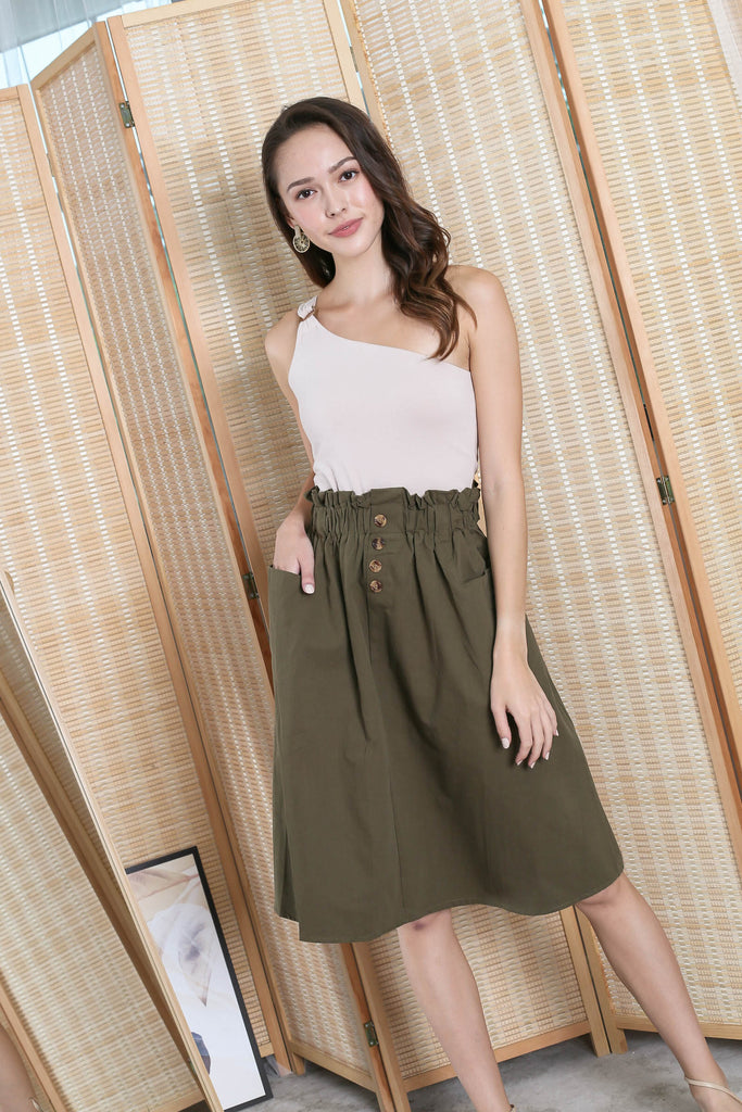 CHARLEIGH PAPERBAG SKIRT IN OLIVE