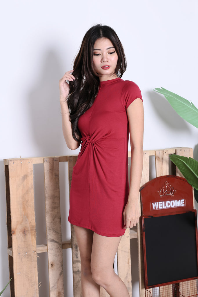 *BACKORDER* BASIC HIGH NECK KNOTTED TEE DRESS IN WINE - TOPAZETTE
