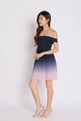(PREMIUM) OVER THE RAINBOW OMBRE DRESS (NAVY/ PINK)