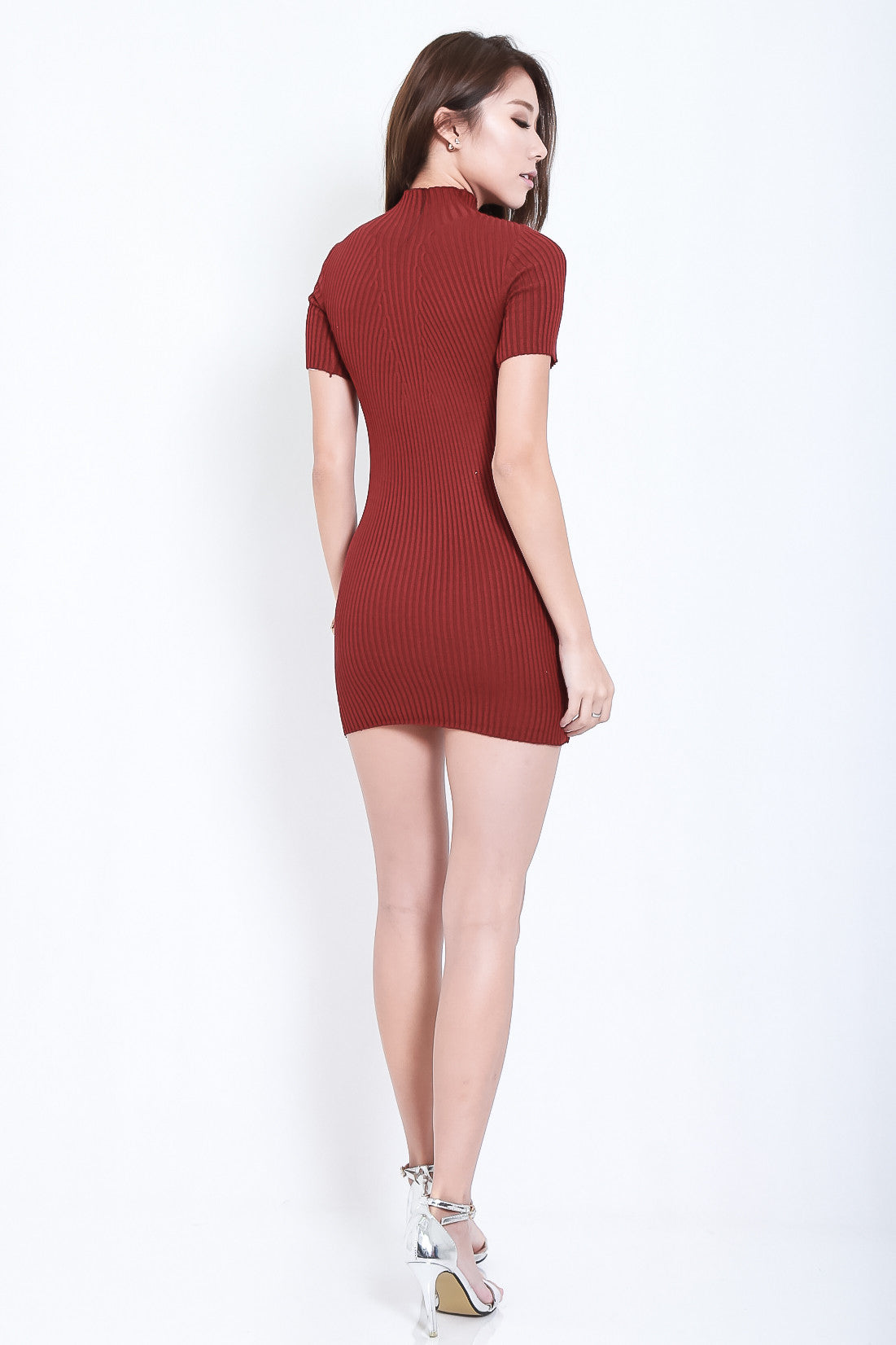 TAKE ME HIGHER RIBBED KNIT DRESS IN WINE