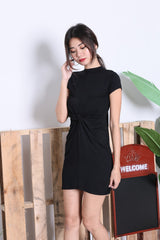 *BACKORDER* BASIC HIGH NECK KNOTTED TEE DRESS IN BLACK