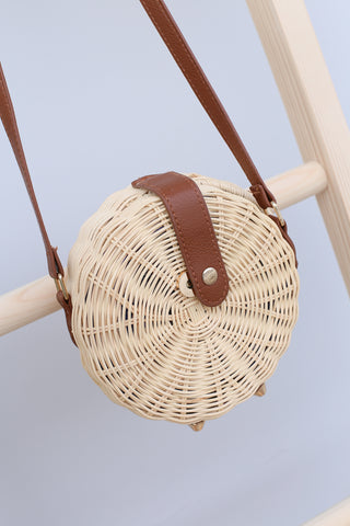 *BACKORDER* BOHEMIA RATTAN WOVEN CIRCLE CROSSBODY