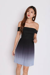 (PREMIUM) OVER THE RAINBOW OMBRE DRESS (BLACK/ GREY)