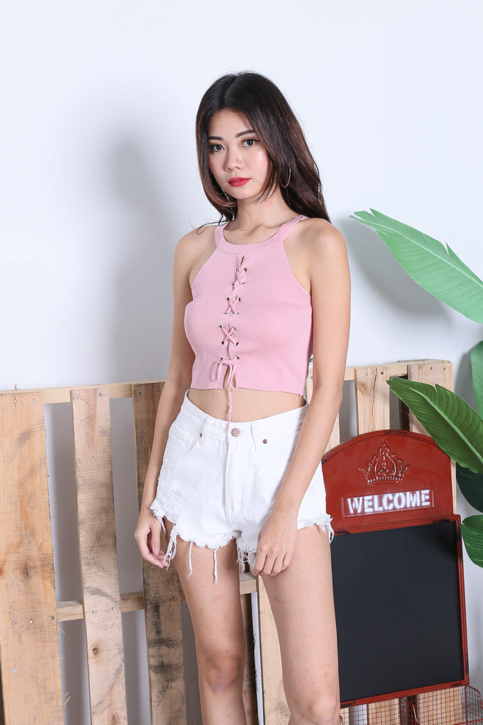 YEL REVERSIBLE LACED UP KNIT TOP IN BABY PINK - TOPAZETTE
