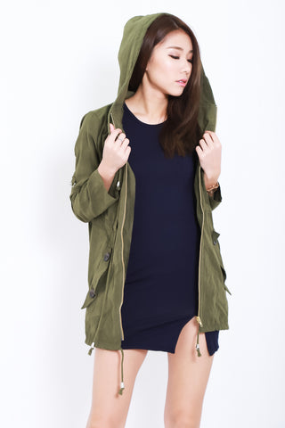 *RESTOCKED* JEN EVERYDAY HOODED PARKA IN ARMY GREEN - TOPAZETTE