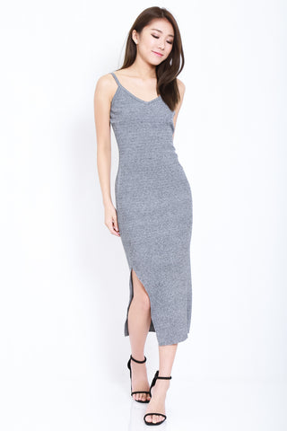 (RESTOCKED) RILEY KNIT SPAG DRESS IN GREY - TOPAZETTE