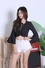 KES CROCHET BOHO TOP IN BLACK