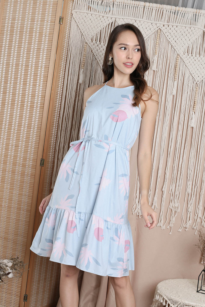 (PREMIUM) UTOPIA HALTER DROP HEM DRESS IN PASTEL BLUE